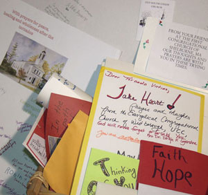 Cards from churches for those in the communities devasted by tornadoes