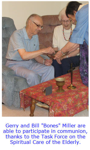 Fitchburg elderly taking communion