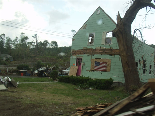 One of the 3,000 homes damaged by tornadoes.